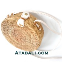 Round ata rattan women bag with white leather strap